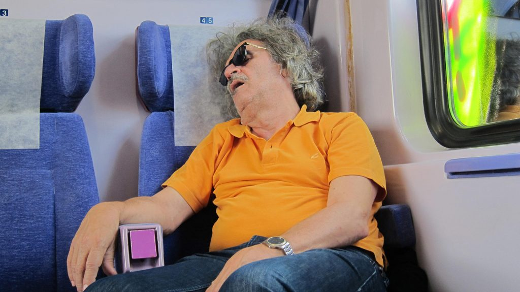 Einstein sleeps on the train.